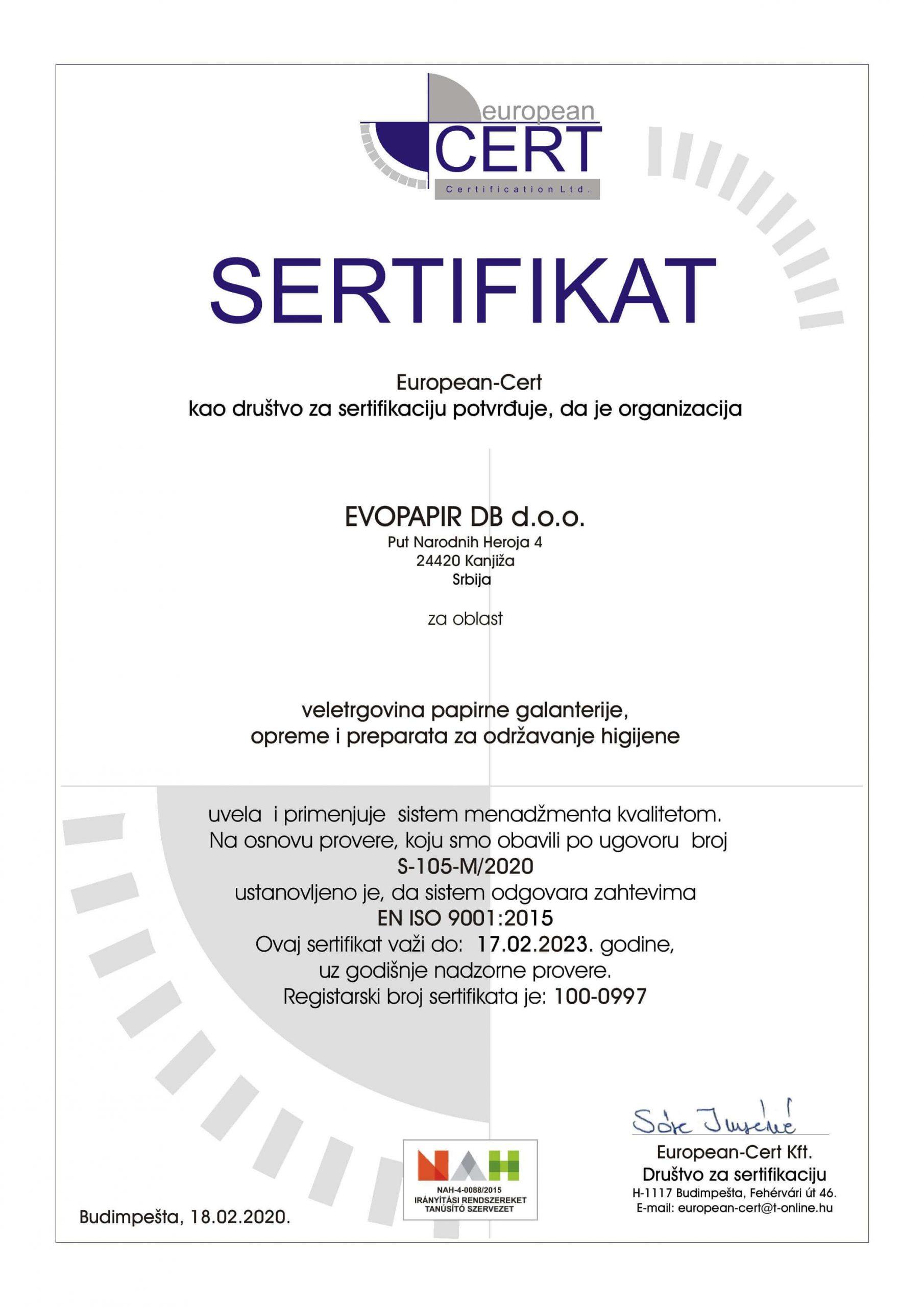 EVOPAPIR sertifikat