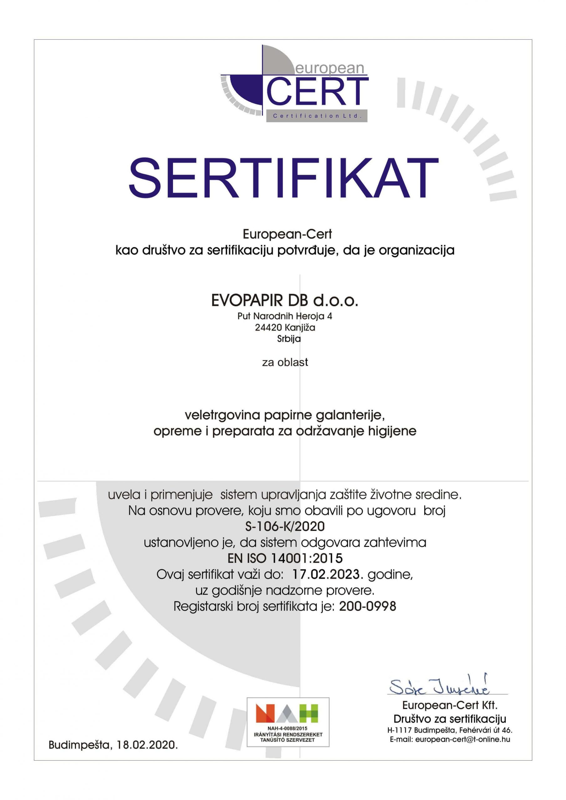 EVOPAPIR sertifikat zaštita životne sredine